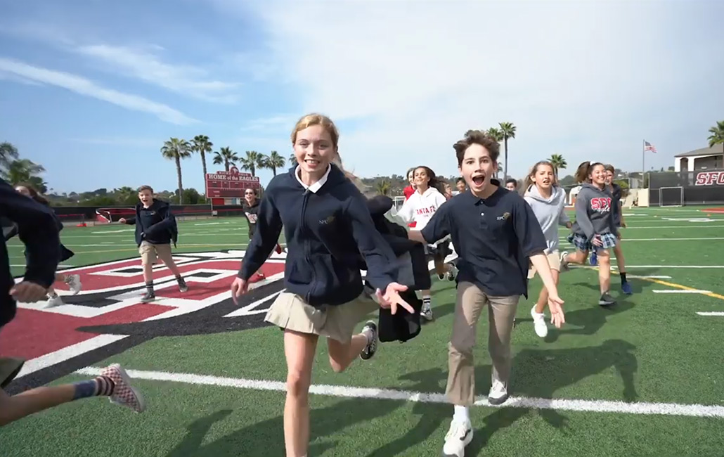 Sante Fe Christian School Students Running in Field